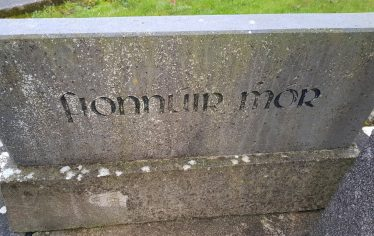 Townland name on millennial stone under the church bell in the grounds of St Mary's Church. | Ann Marie Meaney