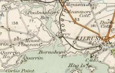 Map showing Poulnasherry Bay Ferry Crossing c.1840 | 'Data from the [6 inch historic maps] accessed through the Heritage Maps Viewer at www.heritagemaps.ie, [21-2-2020)]'.