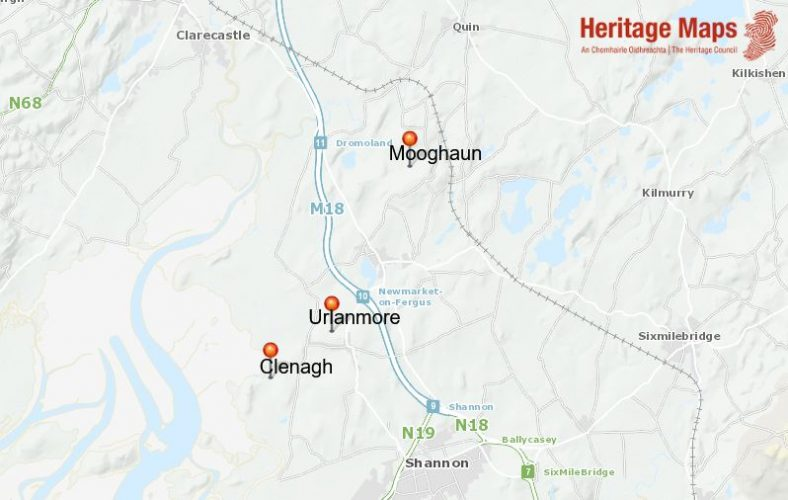Location Map of three Tower Houses.  Data from basemaps accessed at heritagemaps.ie 23-6-2021 | Heritagemaps.ie