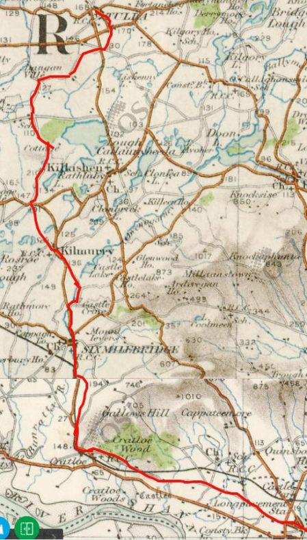 Route taken by O'Brien from King John's Castle, Limerick to Tulla   Heritagemaps.ie